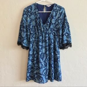 Candie's Blue Paisley Print Boho Mini Dress XS